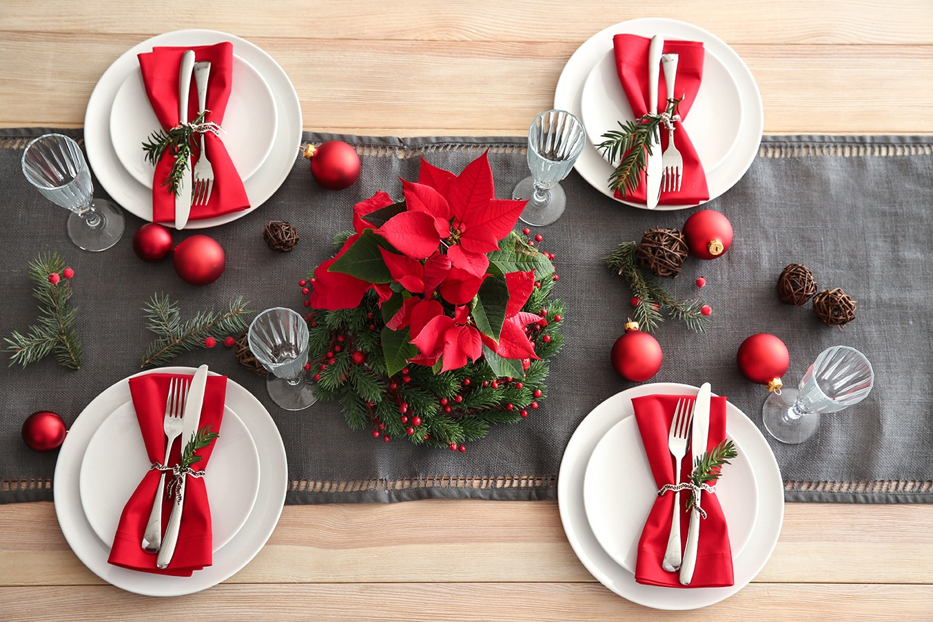 Deco table noel poinsettia
