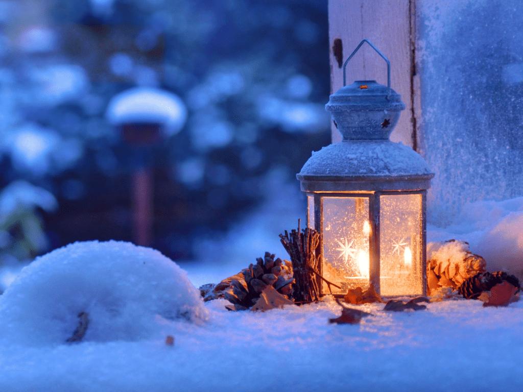 Lanterne bougie neige jardin (2)