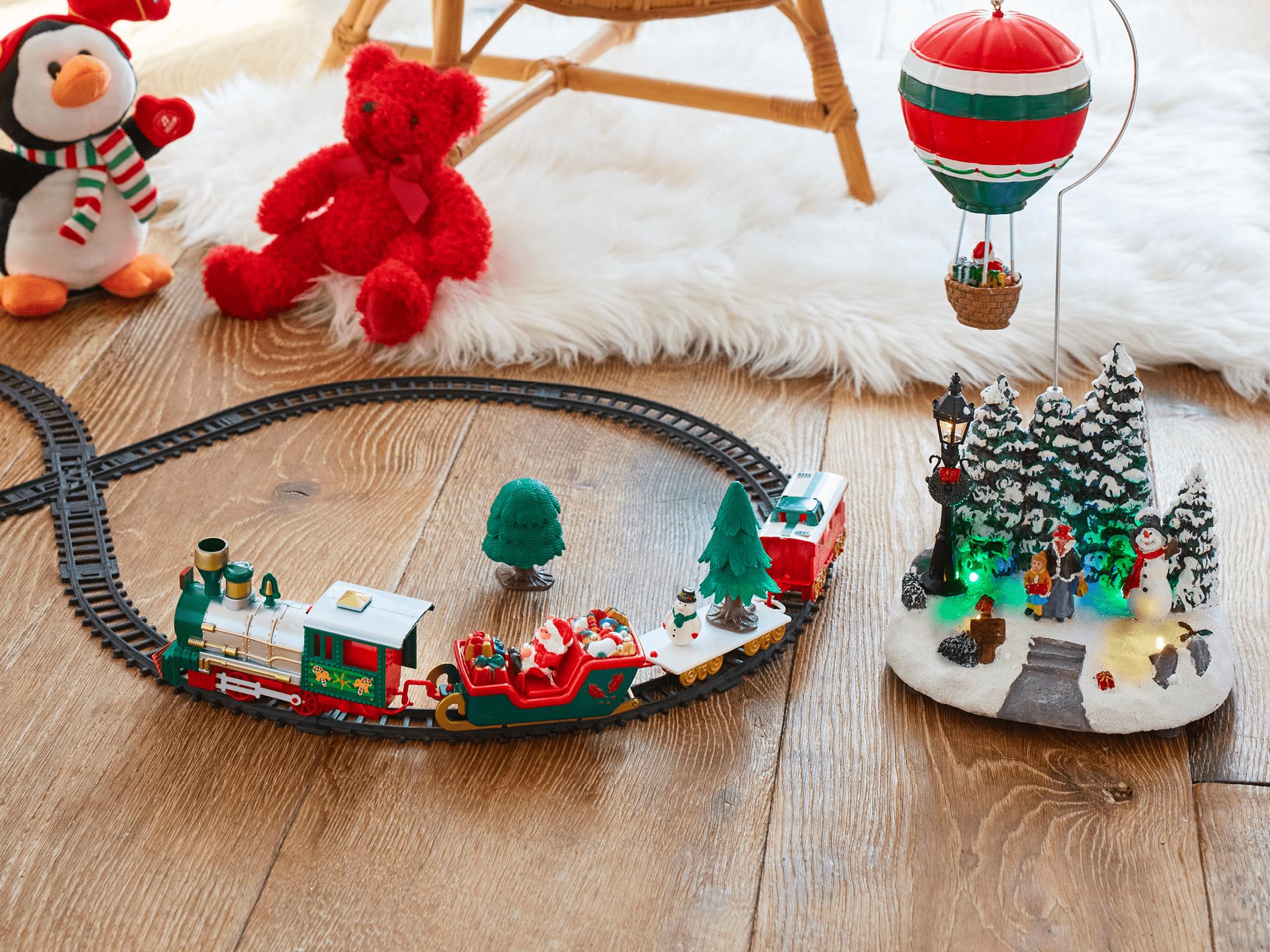 Train electrique Noel au sol