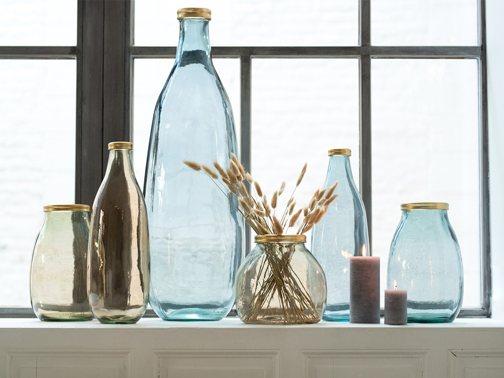 Vases en verre recyclé